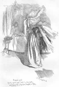 Bertha Mason in the foreground, an illustration by F. H. Townsend for the second edition of Jane Eyre, published in 1847